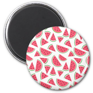 Happy Watermelon Pattern - Choose Your Background 2 Inch Round Magnet