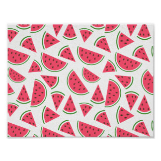 Happy Watermelon Pattern - Choose Your Background Poster