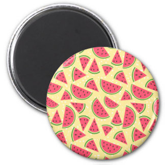 Happy Watermelon Pattern - Red Green Yellow White 2 Inch Round Magnet