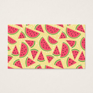 Happy Watermelon Pattern - Yellow and White Business Card