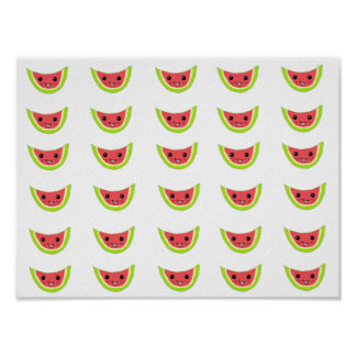 Happy Watermelon Slices Poster