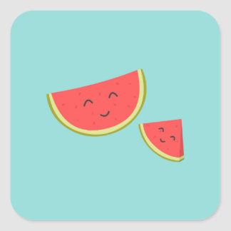 Happy Watermelon Square Stickers