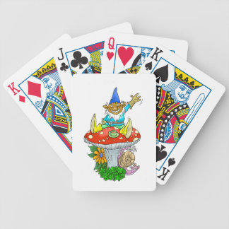 Happy waving gnome on a pack of cards. bicycle playing cards