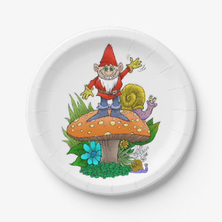 Happy  Waving Gnome. Paper Plate