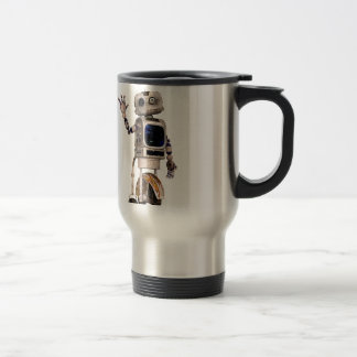 Happy Waving Robot 15 Oz Stainless Steel Travel Mug