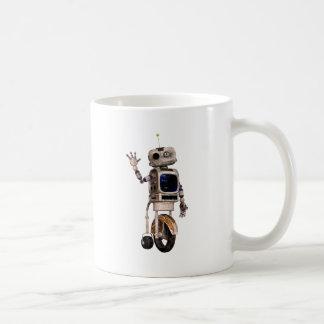 Happy Waving Robot Classic White Coffee Mug