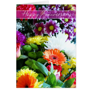 Happy Wedding Anniversary Bouquet Of Flowers Card at Zazzle