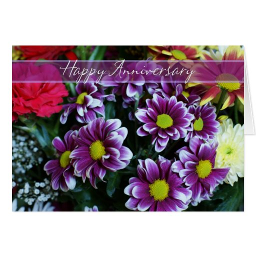 Happy Wedding Anniversary Bouquet Of Flowers Card Zazzle