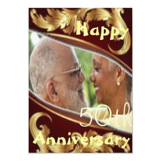 "Happy Wedding Anniversary Burgundy invite 5"" X 7"" Invitation Card"
