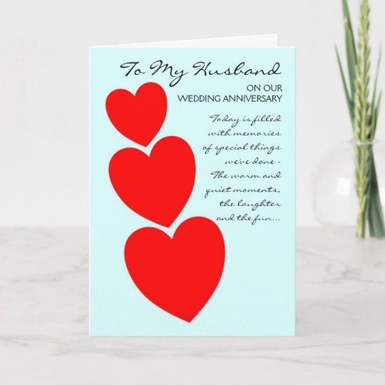 happy wedding anniversary husband hearts card zazzle com