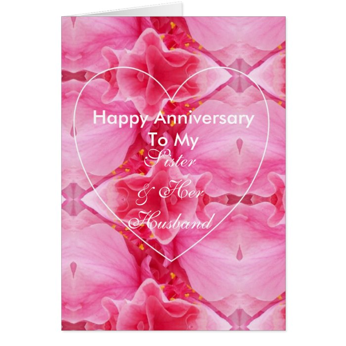 10th Wedding Anniversary Gift For Sister : Happy Wedding Anniversary Sister And Husband Card Zazzle