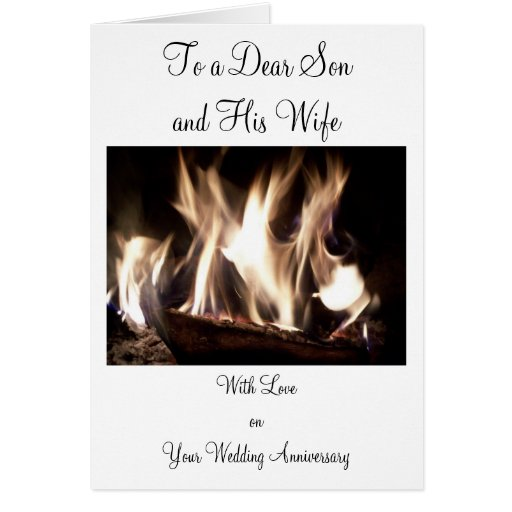 Happy wedding anniversary son and wife fire card zazzle