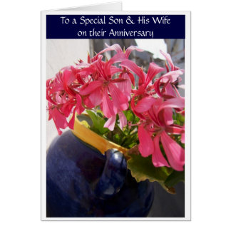 Happy Wedding Anniversary Son And Wife Fuchsia Card