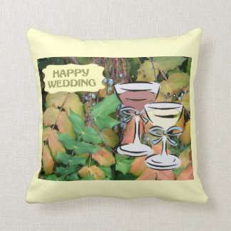 Happy Wedding, champagne toast Pillows