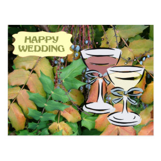 Happy wedding, greenery and champagne postcard