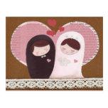 Happy Wedding(Pink/Brown) Postcard