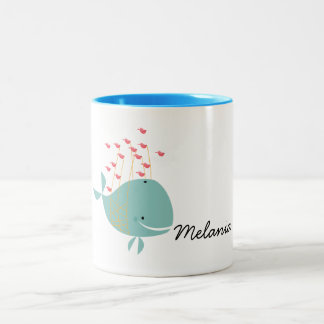 Happy Whale Two-Tone Coffee Mug