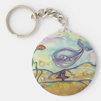Happy Whale Watercolor Keychain