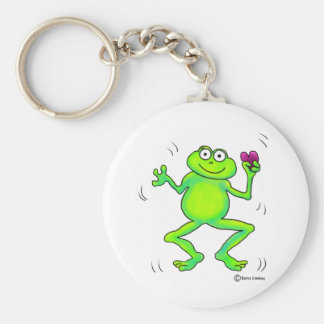 Happy Whimsical Frog Jumping Pink Heart In Hand Keychains