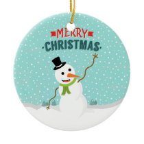 Happy Whimsical Snowman on Snowy Christmas Day Ceramic Ornament
