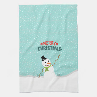 Happy Whimsical Snowman on Snowy Christmas Day Hand Towel