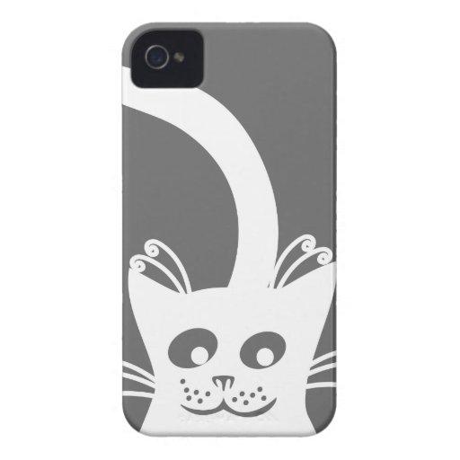 Happy White Cat iPhone 4 Case-Mate Cases