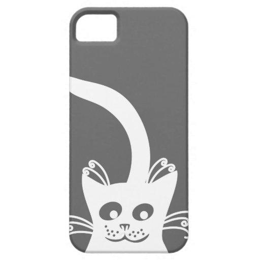 Happy White Cat iPhone 5 Cases