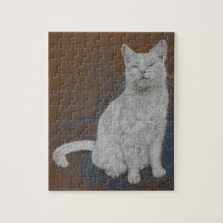happy white cat pastel painting. puzzle