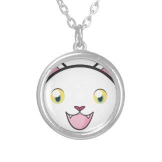 Happy White Cat Silver Plated Necklace