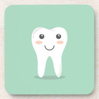 Happy White Kawaii Cartoon Sweet Tooth Character Beverage Coaster