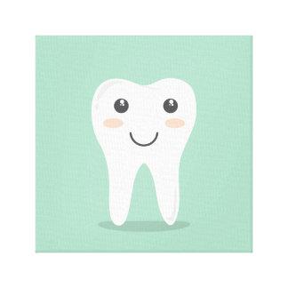 Happy White Kawaii Cartoon Sweet Tooth Character Canvas Print