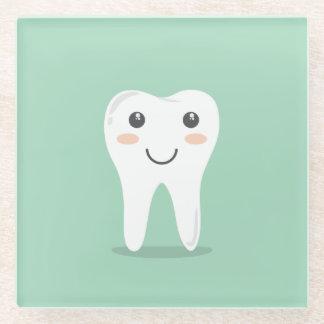 Happy White Kawaii Cartoon Sweet Tooth Character Glass Coaster