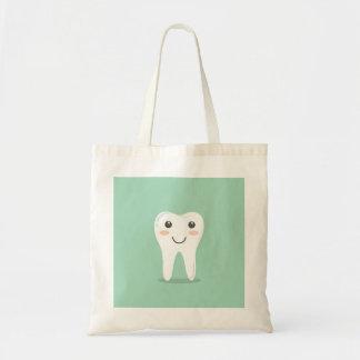 Happy White Kawaii Cartoon Sweet Tooth Character Tote Bag