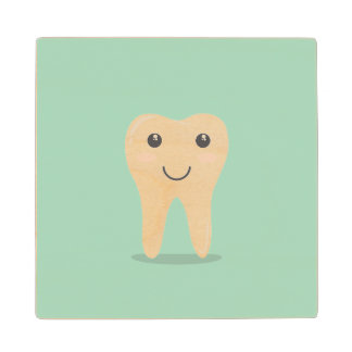 Happy White Kawaii Cartoon Sweet Tooth Character Wooden Coaster