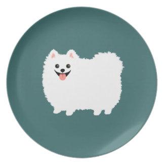 Happy White Pomeranian Melamine Plate
