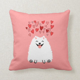 Happy White Pomeranian with Pink Hearts Throw Pillow
