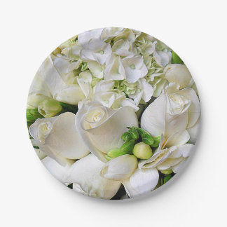 Happy,White Roses_ Paper Plate