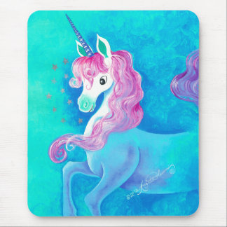 Happy White Unicorn Mouse Pad