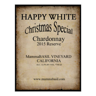 Happy White Wine Christmas Poster! Poster