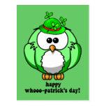 happy whooo patricks day postcards