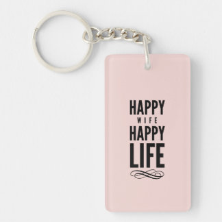 Happy Wife Funny Marriage Quote Pink Keychain