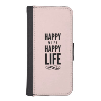 Happy Wife Funny Marriage Quote Pink Wallet Phone Case For iPhone SE/5/5s