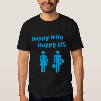Happy Wife Happy Life Blue T Shirt