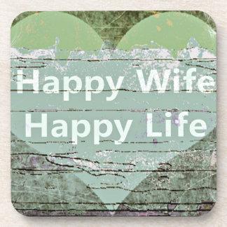 Happy Wife Happy Life by Kaye Talvilahti Coaster