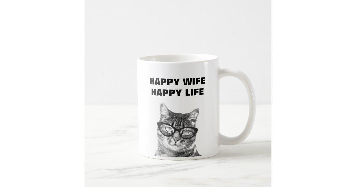 Happy Wife Happy Life Funny Wedding Quote Cat Mug Zazzle Com