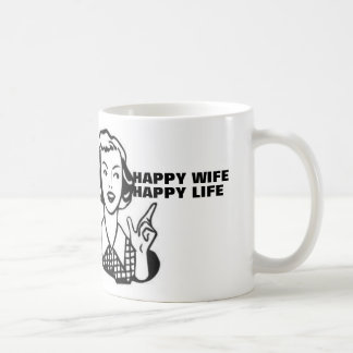 Happy wife happy life, retro housewife coffee mug