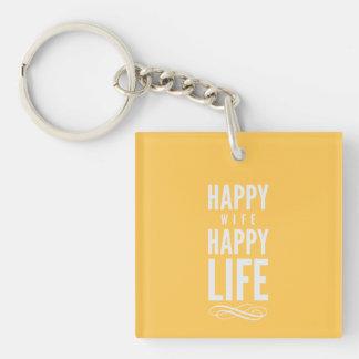 Happy Wife Happy Life Saying Yellow Keychain