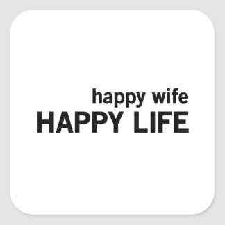 Happy Wife Happy Life Square Sticker