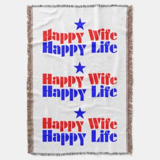 Happy Wife Happy Life Throw Blanket