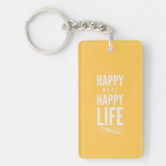 Happy Wife Happy Life Yellow Keychain